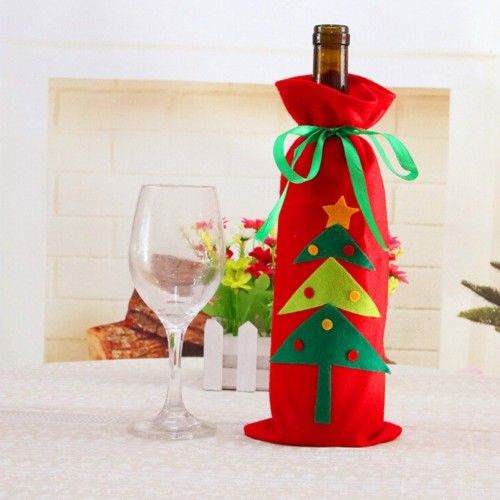 Christmas Tree Snowman Design Wine Champagne Bottle Cover Red Wine Gift Bags Pretty Merry Christmas Decoration Supplies Xmas Home Ornaments Santa Reindeer Dinner Party