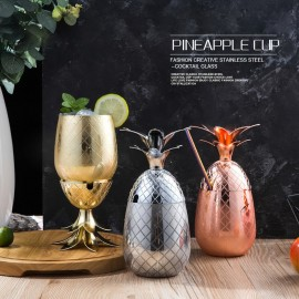 Pineapple Wine Glass Stainless Steel Craft Cocktail Tumbler Modern Design Glass for Kitchen Bar Party