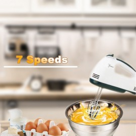 Electric Hand Mixer Egg Beater 7-Speed Easy Mix Good Grips Cake Mixer Ultra Power Stainless Steel Beater 2 Beater Hook 2 Mixer Hook