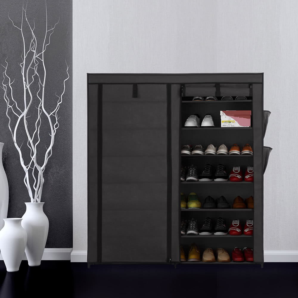 iKayaa Classic Portable 7 Tier Fabric Shoes Rack Cabinet Non-woven Zip Up Standing 50 Pair Boots Shoes Storage Organizer