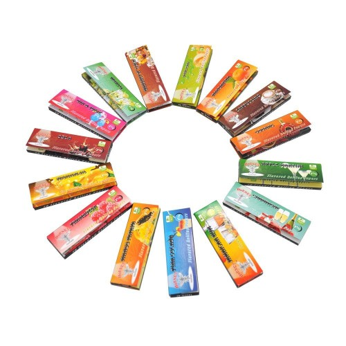1 Booklet Roll Cigarette Papers Variety Juicy Fruit Flavored Cigarettes Rolling Paper Holder Wrapping Papers Filter Tube Empty Smoke Tube Hemp Wraps Randomly Flavors