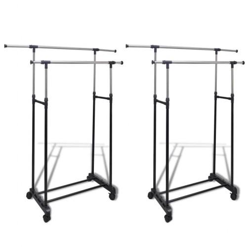 2 pcs Adjustable Clothes Rack 2 Hanging Rails