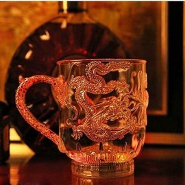 LED Flashing Color Change Mug Water Activated Light Up Dragon Pattern Beer Cup 285ml
