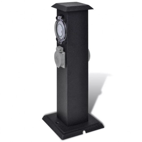 Garden socket outlet tower Black with Timer