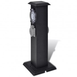 Garden socket outlet tower Black with Timer