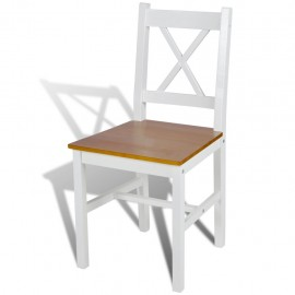 2 pcs White and Natural Colour Wood Dinning Chair