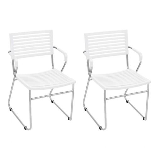 White Stackable Arm Chair 2 pcs