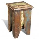 Reclaimed Wood Stool Hocker Antique Chair