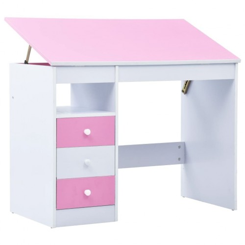 Children's desk tiltable pink and white