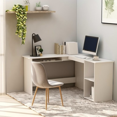 Corner desk in L-shape white 120 × 140 × 75 cm chipboard