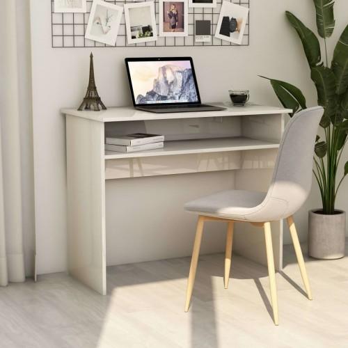 Desk glossy white 90 × 50 × 74 cm chipboard