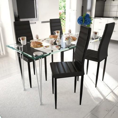 Dining chair sleek design Black (4 pieces)
