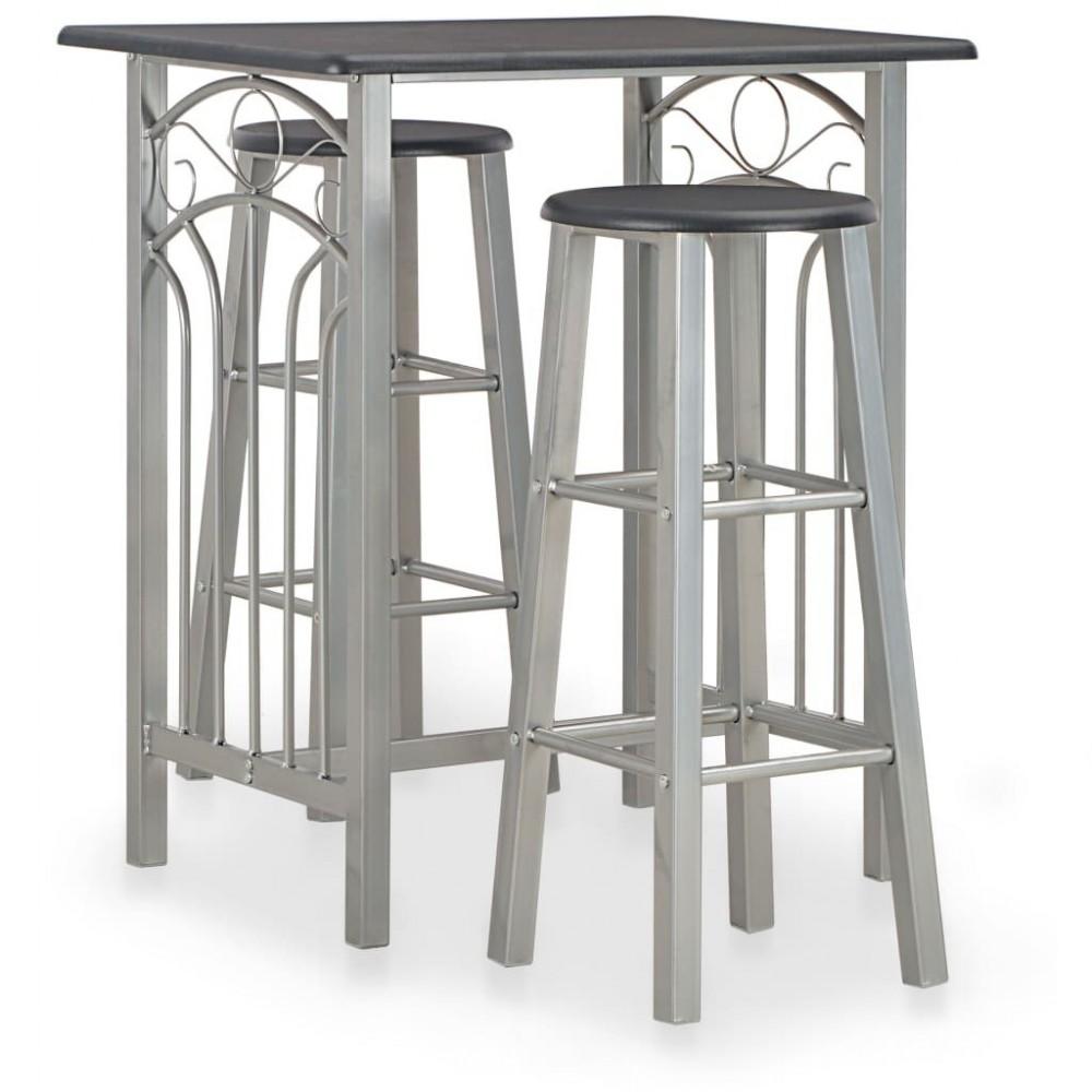 3-pc. Bar set wood and steel black