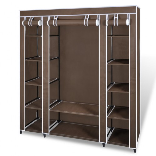 Fabric Cabinet with Compartments 45 x 150 x176 cm Brown