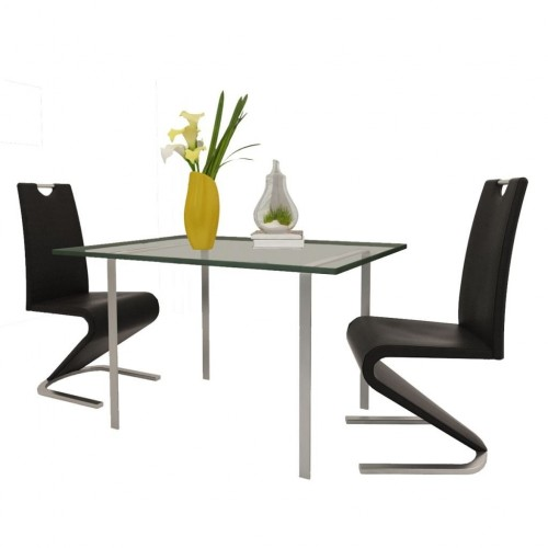 Dining chair leatherette black cantilever U-shaped base 2 pieces