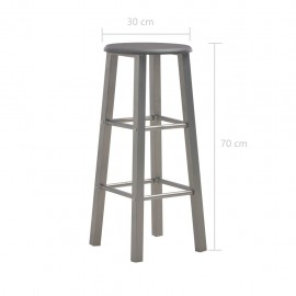 3-pc. Bar set wood and steel anthracite
