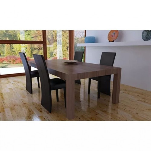 Dining 4 chairs set back long brown