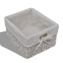 White Wooden Cabinet with 3 Left Weaving Baskets