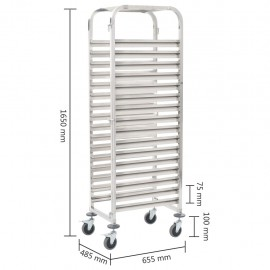 Tray trolley for 16 trays 65.5 × 48.5 × 165 cm stainless steel