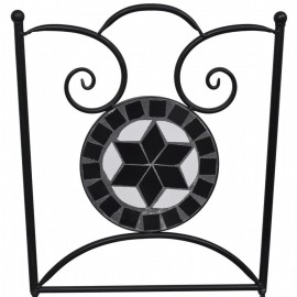 Bistro Table 60 cm Mosaic with 2 Chairs Black / White